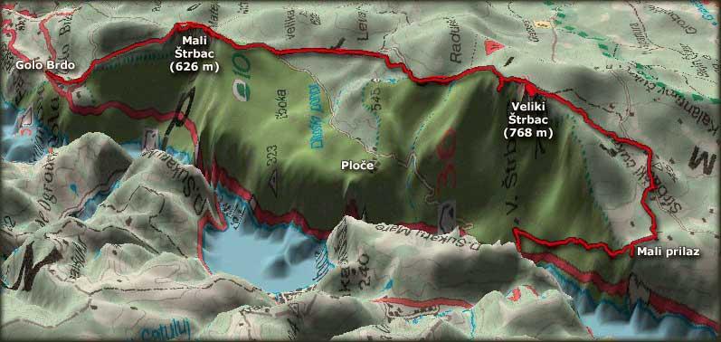 Trasa uspona na Veliki i Mali Štrbac, preko Malog prilaza