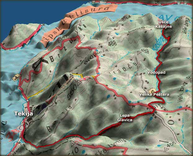 Trasa kroz kanjon Kašajne, do Velike peštere i Tekije