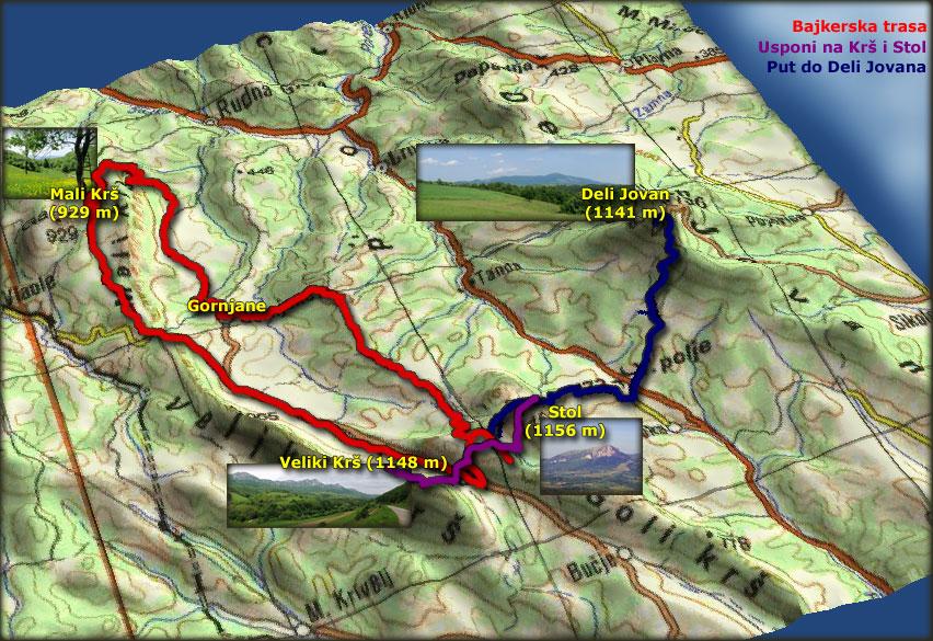 Mapa planinarskih i bajkerskih tura po Krševima, Stolu i Deli Jovanu 17. i 18. maja