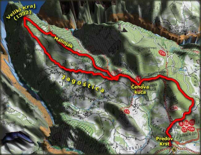 Mapa uspona na Veliki Kraj