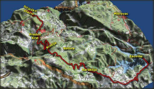 Mapa bajkerske ture do Predovog Krsta i Biljeških stena 3. maja