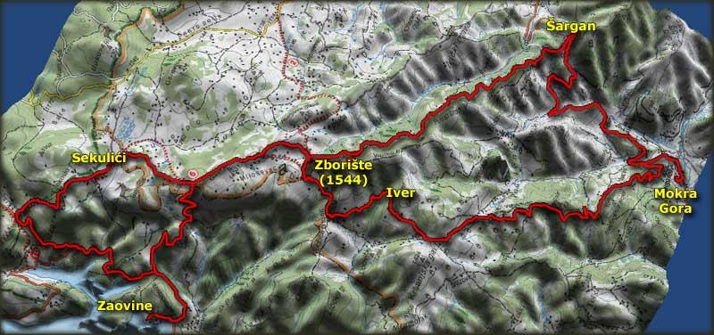 Trasa bajkerske vožnje do Mokre Gore 2. maja