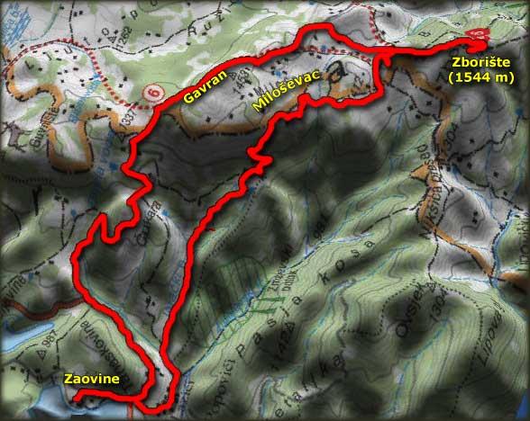 Mapa uspona na Zborište