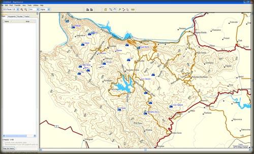 Garmin Mapsource, detalj u kadru je segment topo mape Tare