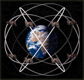 Mreža GPS satelita u orbiti oko zemlje