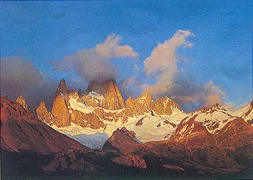 Poged koji osvaja sa ivice puta: vrhovi Anda pokriveni snegom na poslednjem večernjem svetlu